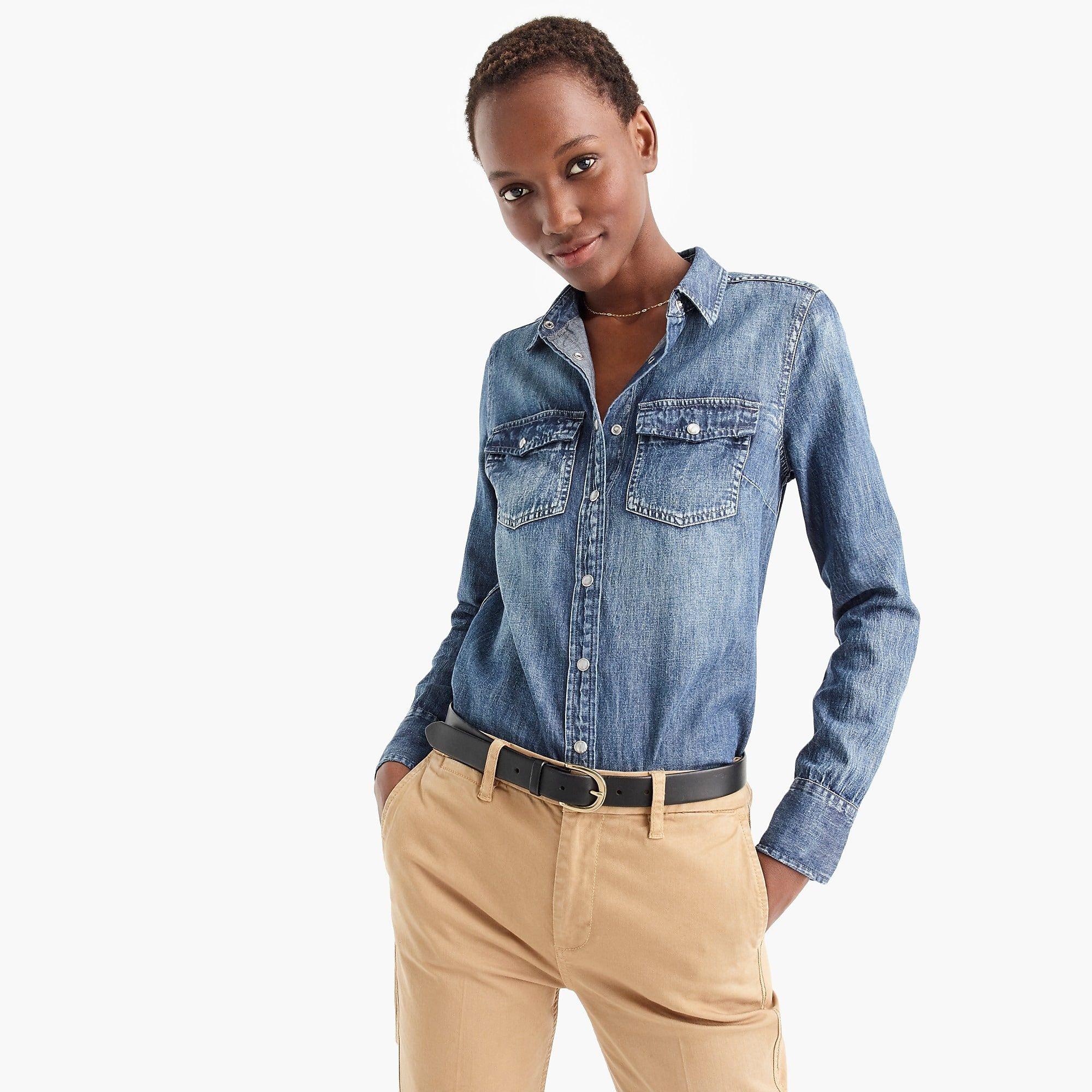 601d2b272f Western chambray shirt in vintage indigo - Women's Shirts | J.Crew ...