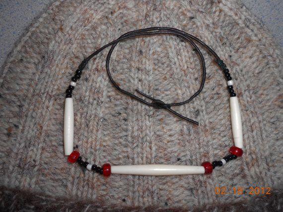 Bone Necklace  Native Inspired by LeNidDuMerleHandKnit on Etsy, $19.95