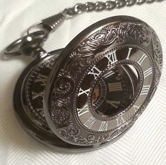 Wind Up Pocket Watch Black Gold and Silver   by RhoxButtons, $40.00