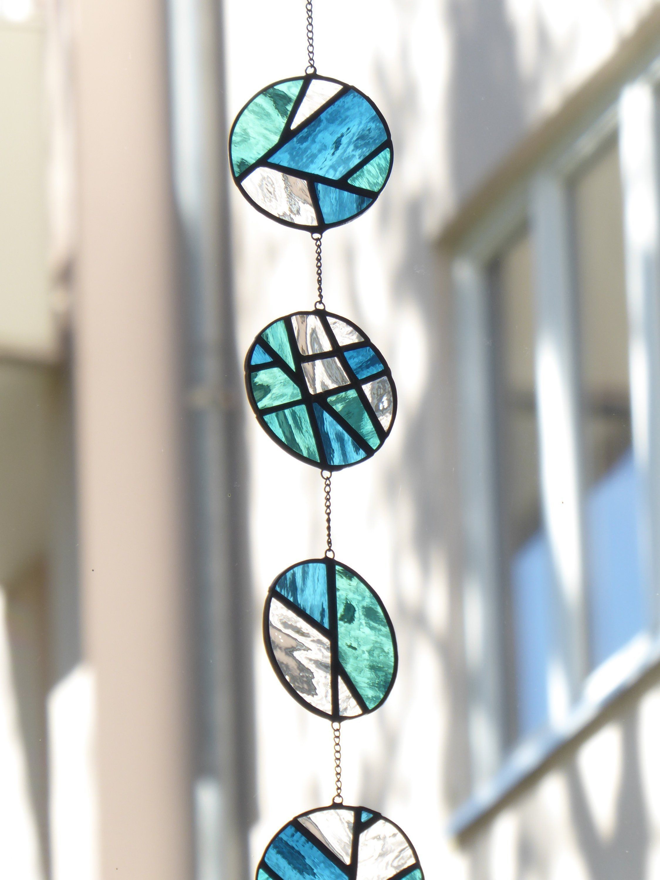 Stained glass mobile suncatcher. Modern stained gl