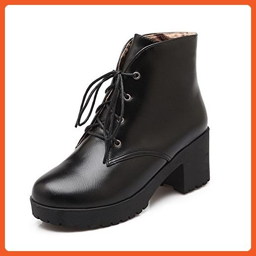 Women's Low-top Solid Lace-up Closed Round Toe Low-Heels Boots