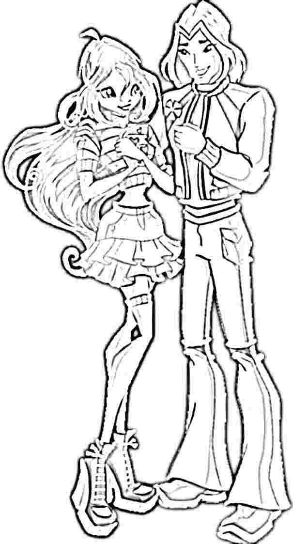 Winx Club Sky Kiss Roxy: Winx Club Bloom And Sky Coloring Pages