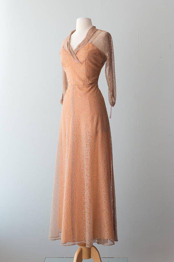 Vintage 1940s Dress - Floor Length, Peach 40s Gown w/ Latte Lace ...