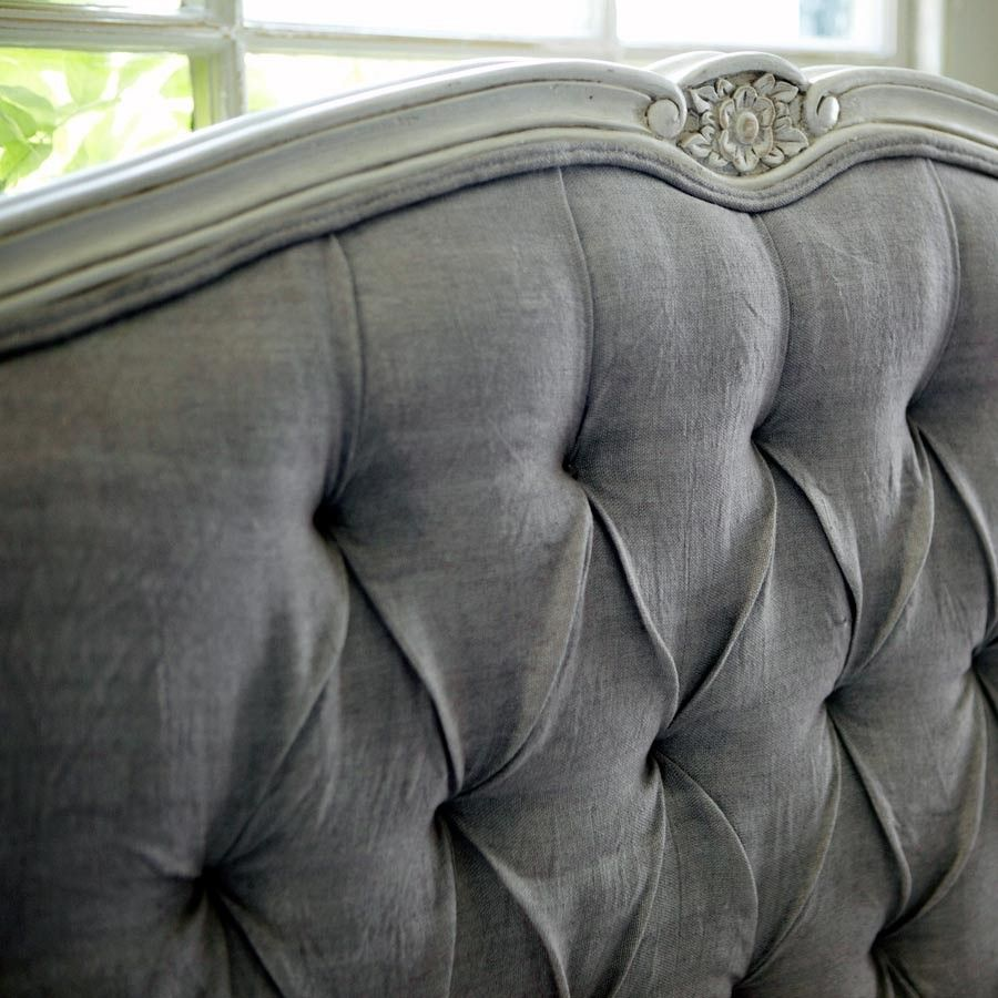 Grey french country bedroom grey tufted headboard with detailed carved trim  lovely  furn