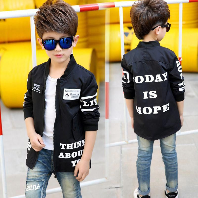 30dc8a852bd Teenage Boys Jackets Letter Coats For Boys Kids motion Clothing Long Sleeve  Children Outerwear 4 5 6 7 8 9 10 11 12 13 14 years