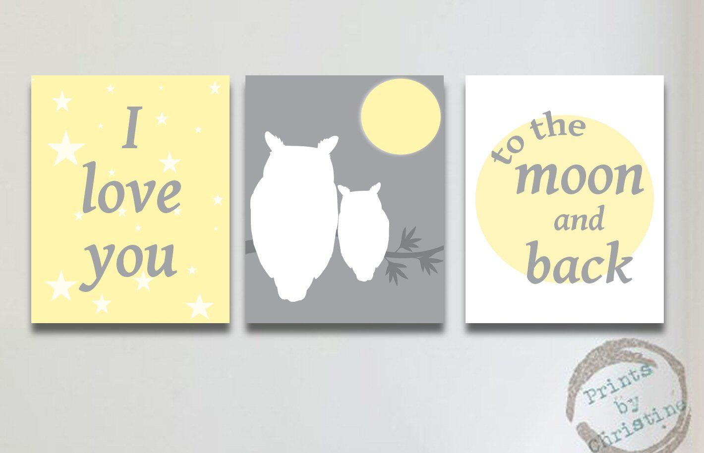 Nursery Art Yellow Gray Set of 3 I Love You To the Moon and Back ...