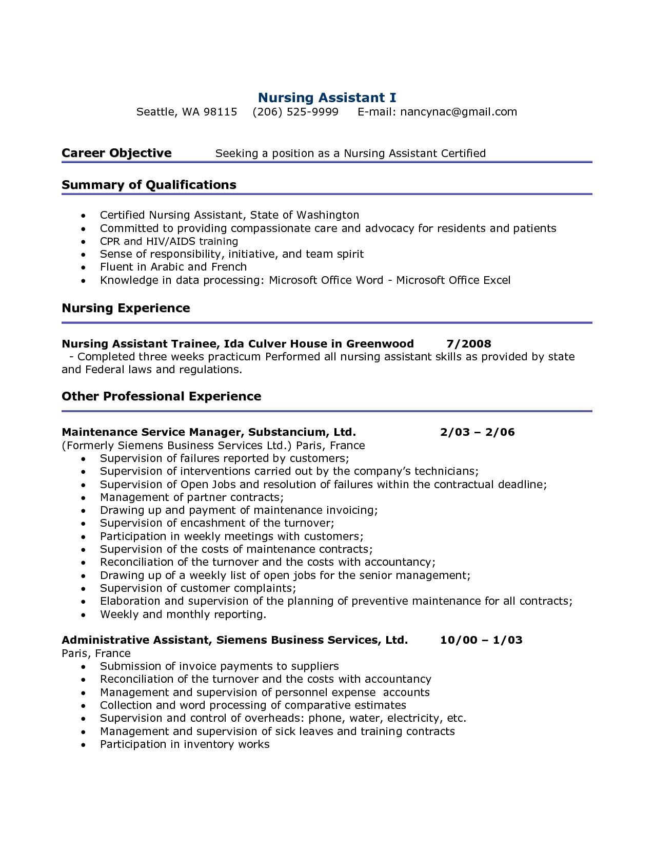 Certified Nursing Assistant Resume httpwwwresumecareerinfo