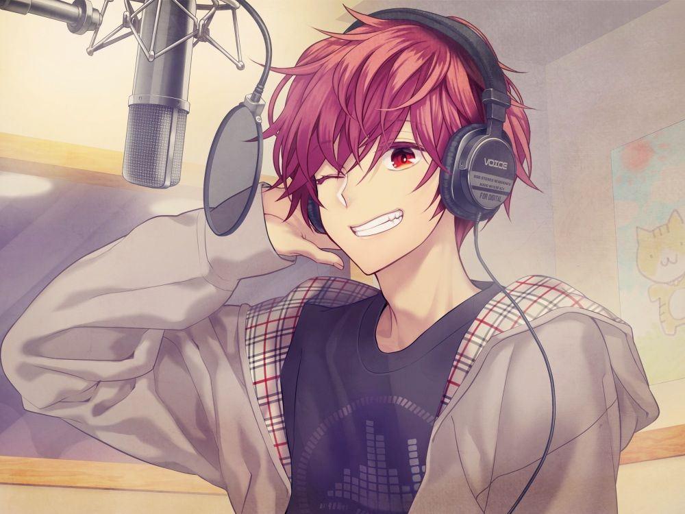 All Male Headphones Hoodie Male Microphone Minamibe0 Original Red Eyes Red Hair Short Hair Wink Anime Music Anime Drawings Boy Red Hair Anime Guy
