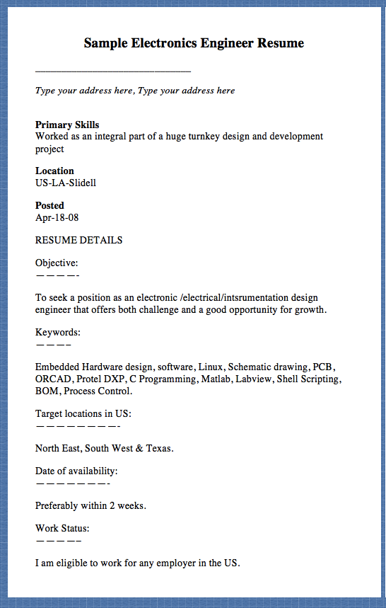 Sample Electronics Engineer Resume Type Your Address Here Type Your Addr Electronic Engineering Resume Resume Template Examples