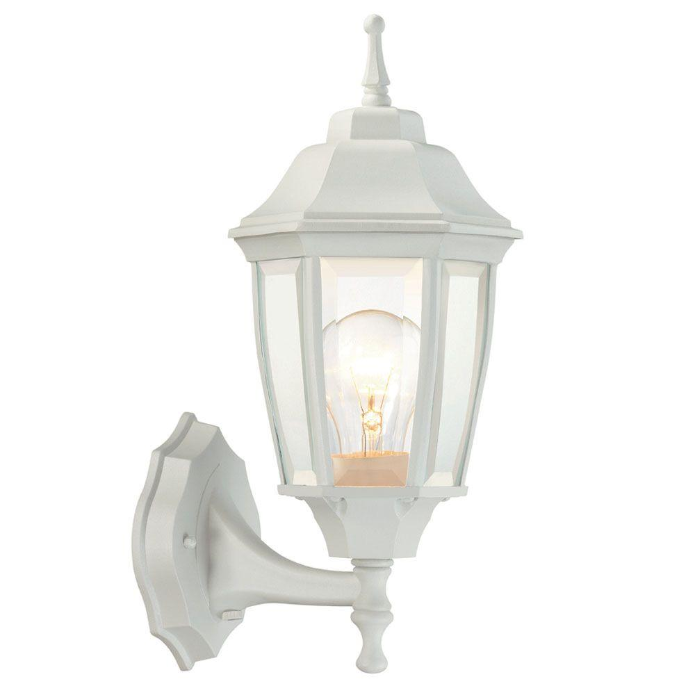 1 Light White Outdoor Dusk To Dawn Wall Lantern White Light Fixture Outdoor Light Fixtures Exterior Light Fixtures