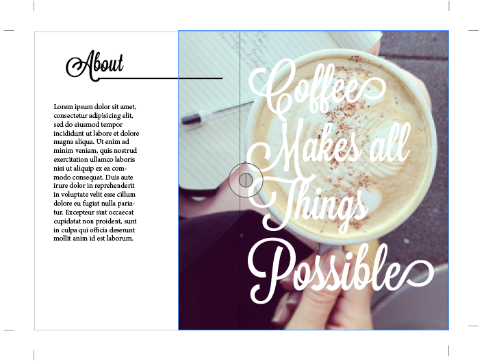 Design layout:  Text over image, with text opposite (about me) section.  (Font is Lavanderia Sturdy)