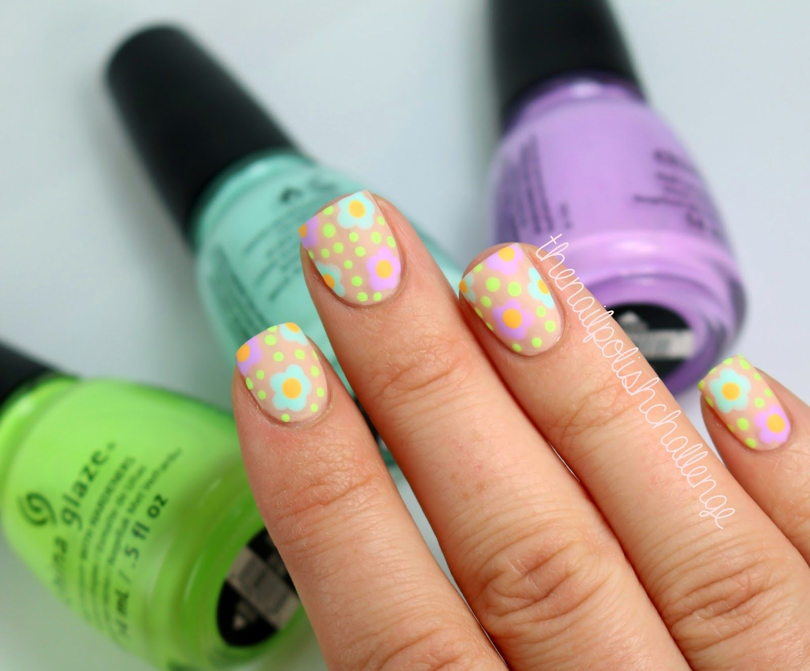 The nail polish challenge china glaze nude floral nail art nails