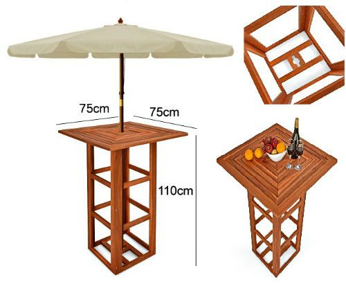 Outdoor Bar Table Wooden Garden Party Stand Umbrella Hole High