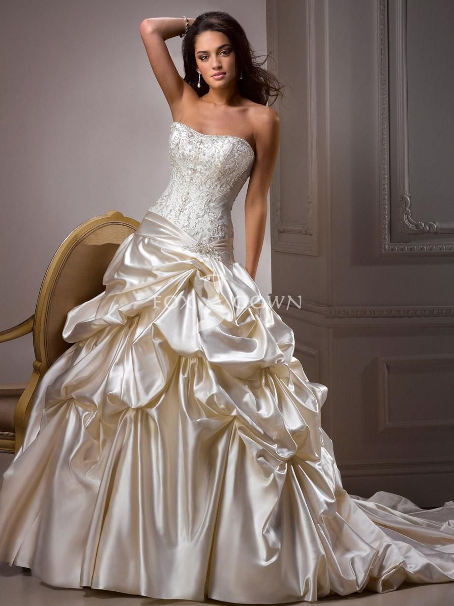 strapless soft satin beading wedding dress with pick-up skirt | My ...