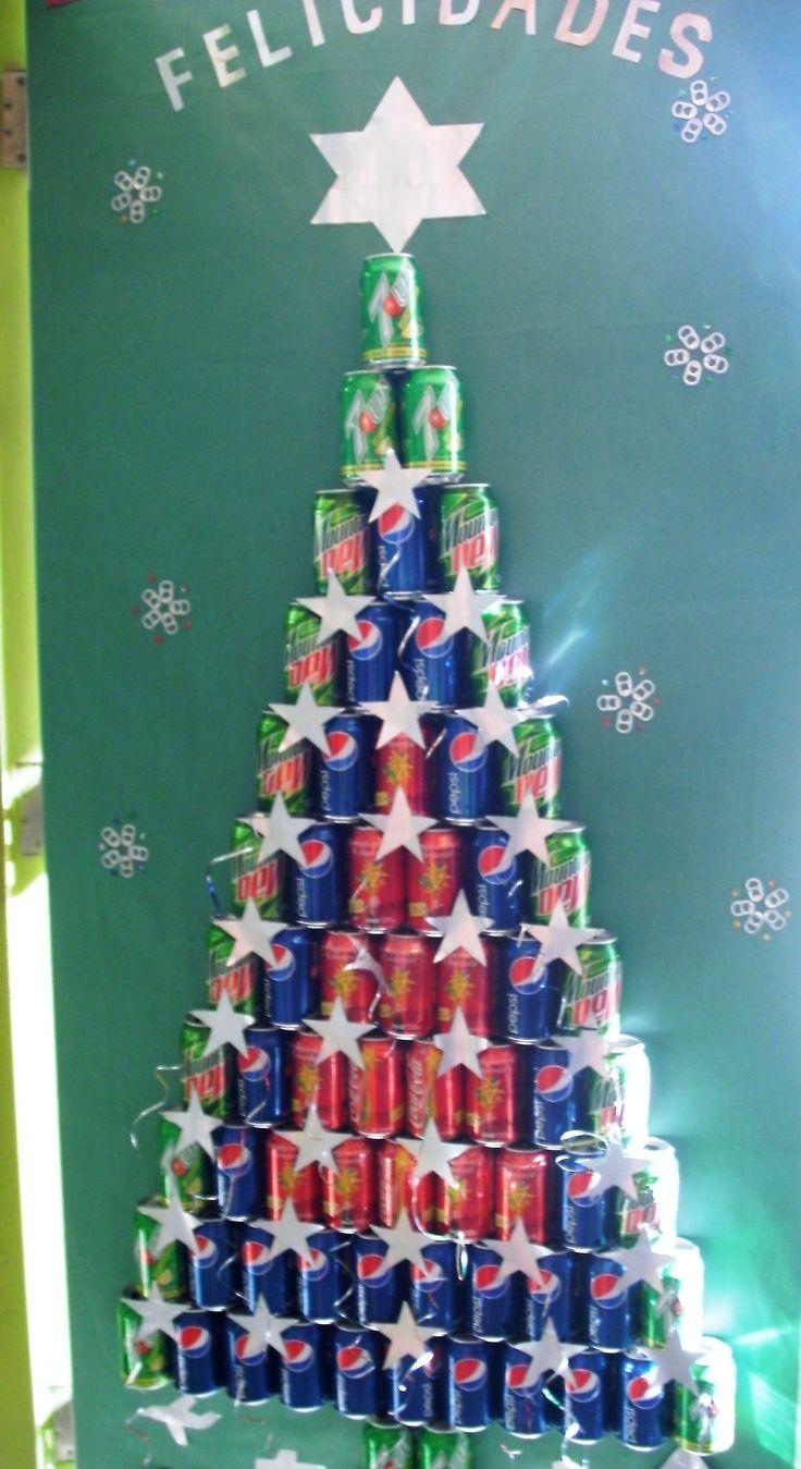 Decoracion navide a recycling pinterest decoraci n for Puertas decoradas con guirnaldas