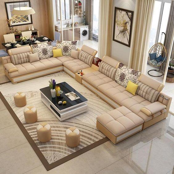 captivating shape sofa living room sets | Luxury Modern U Shaped Leather Fabric Corner Sectional ...