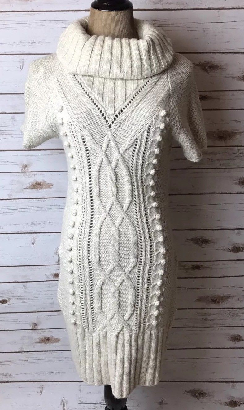 Nice Great H&M Cream Wool Blend Knit Cowl Neck Sweater Dress Small ...