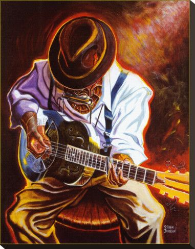 Strummin' Blues Stretched Canvas Print by Steven Johnson at AllPosters.com