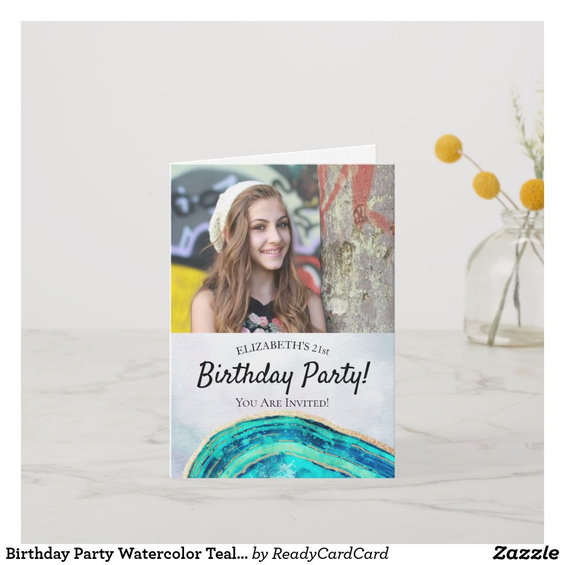 Birthday Party Watercolor Teal & Gold Agate Photo Invitation | Zazzle.com