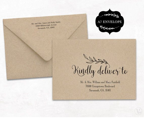 Wedding Envelope Template Printable Wedding By VineWedding On Etsy - Wedding invitation envelope template free