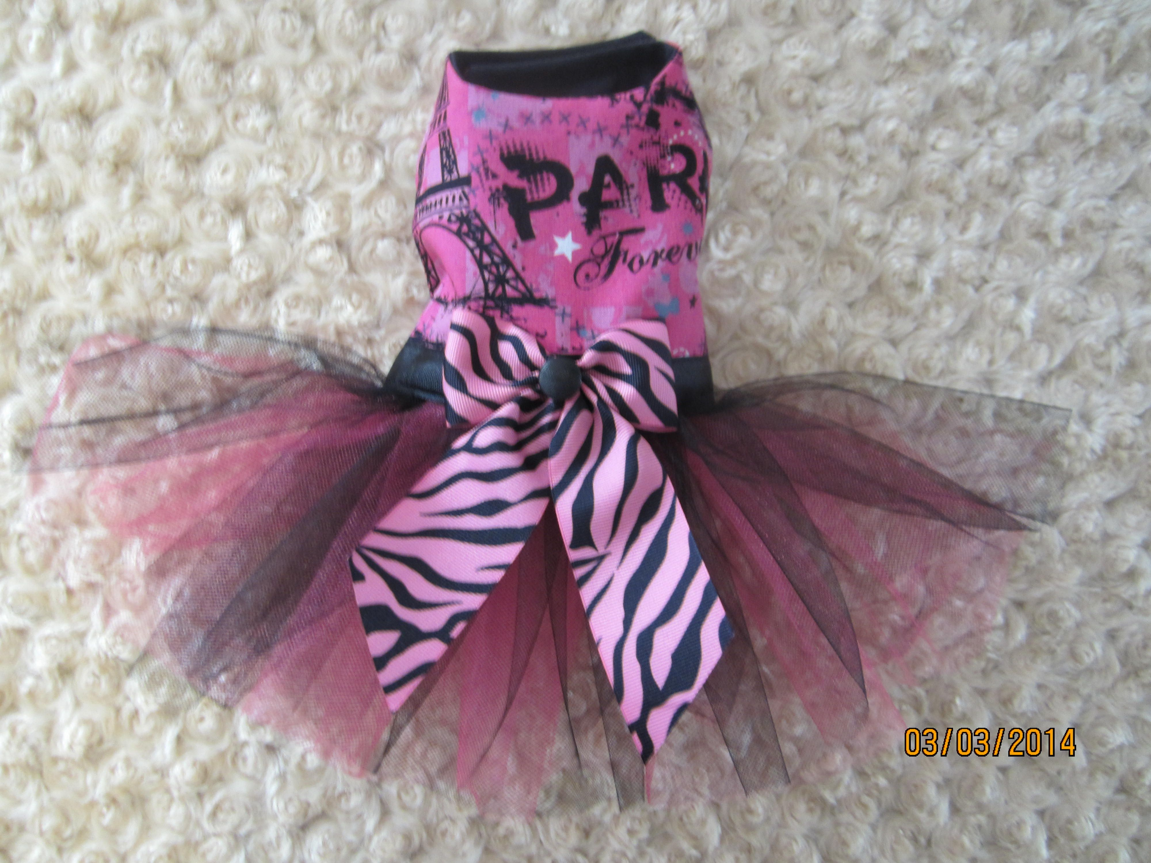 Paris Forever Tutu Dog Dress. Custom hand-made small breed dog dresses and harnesses. Made in Michigan : )