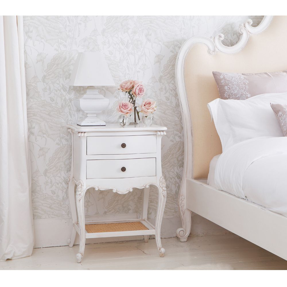 Provencal 2Drawer White Rattan Bedside Table Bedroom