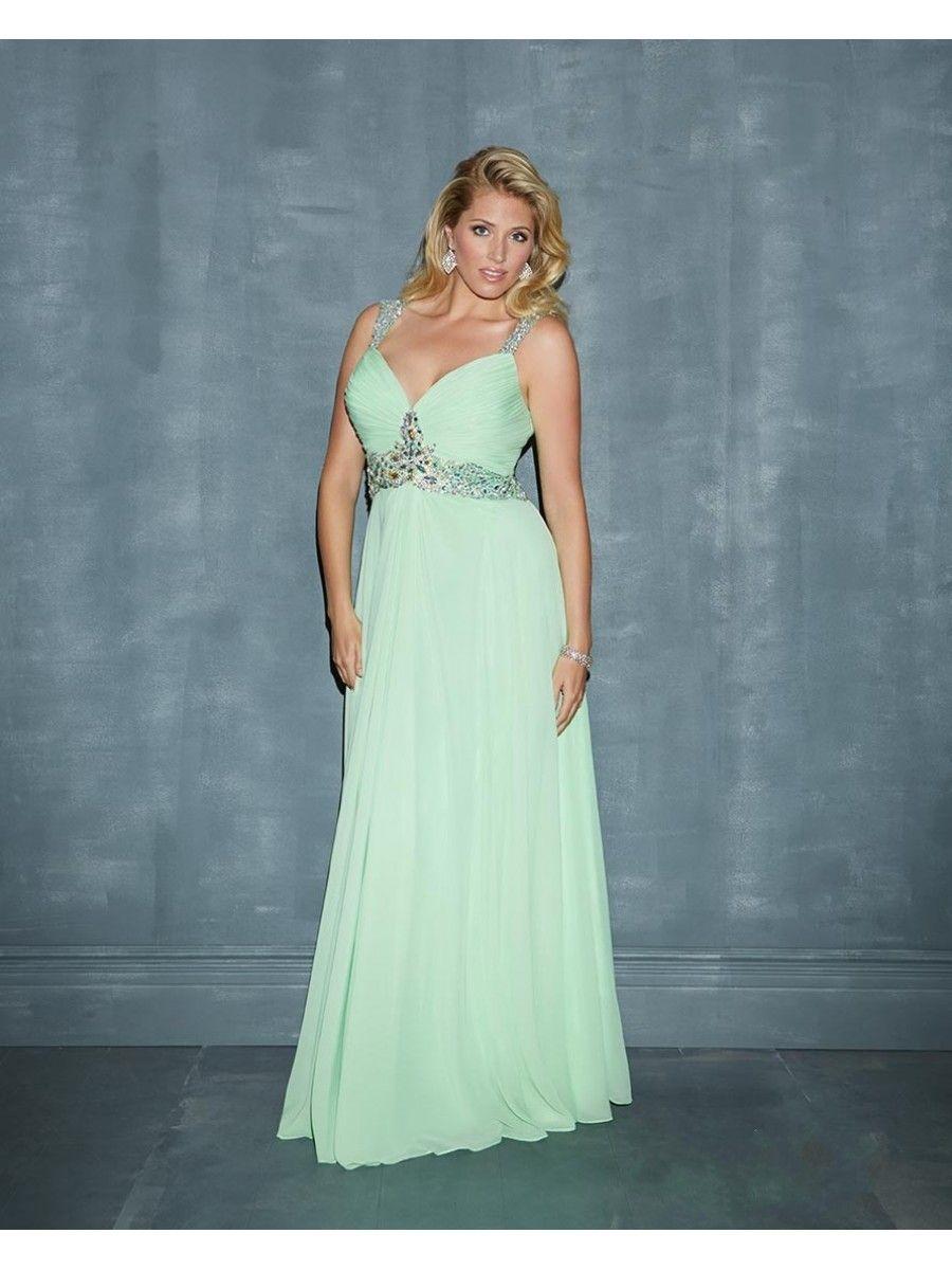 93488db903 Column Beaded Straps Sleeveless Plus Size Long Chiffon Maternity Prom    Evening   Formal Dresses 00201047