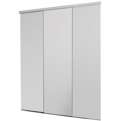 Impact Plus 108 In X 80 In Smooth Flush Primed Solid Core Mdf Interior Closet Sliding Door With Matching Trim Beige Sliding Doors Sliding Closet Doors Closet Doors