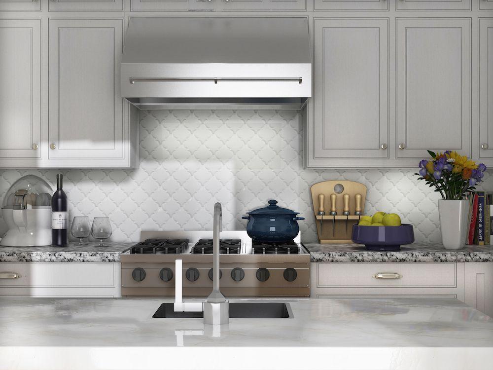 Arabesque Whisper White Glazed Ceramic Wall Tile (Beveled) Lantern