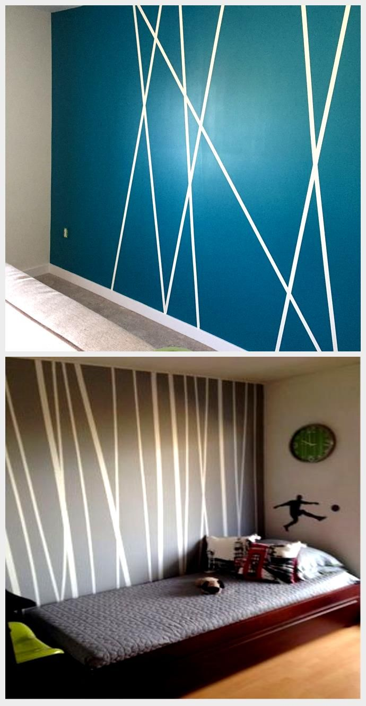 Use Painters Tape To Make Interesting Patterns Tape Wall Art Washi Tape Wall Wall Paint Designs