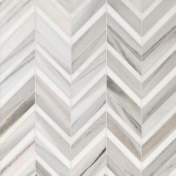 Skyline Light Honed Polished 30 5x29 Chevron Fusion Marble Mosaics