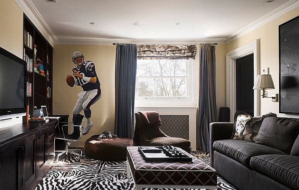 Wall Murals Decals Sports Themed Interiors Contemporary Family Room Family Room Design Family Room