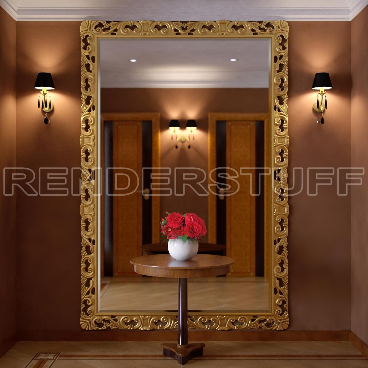 Big Wall Mirrors large golden frame wall mirror 3d model rendering image | if i had
