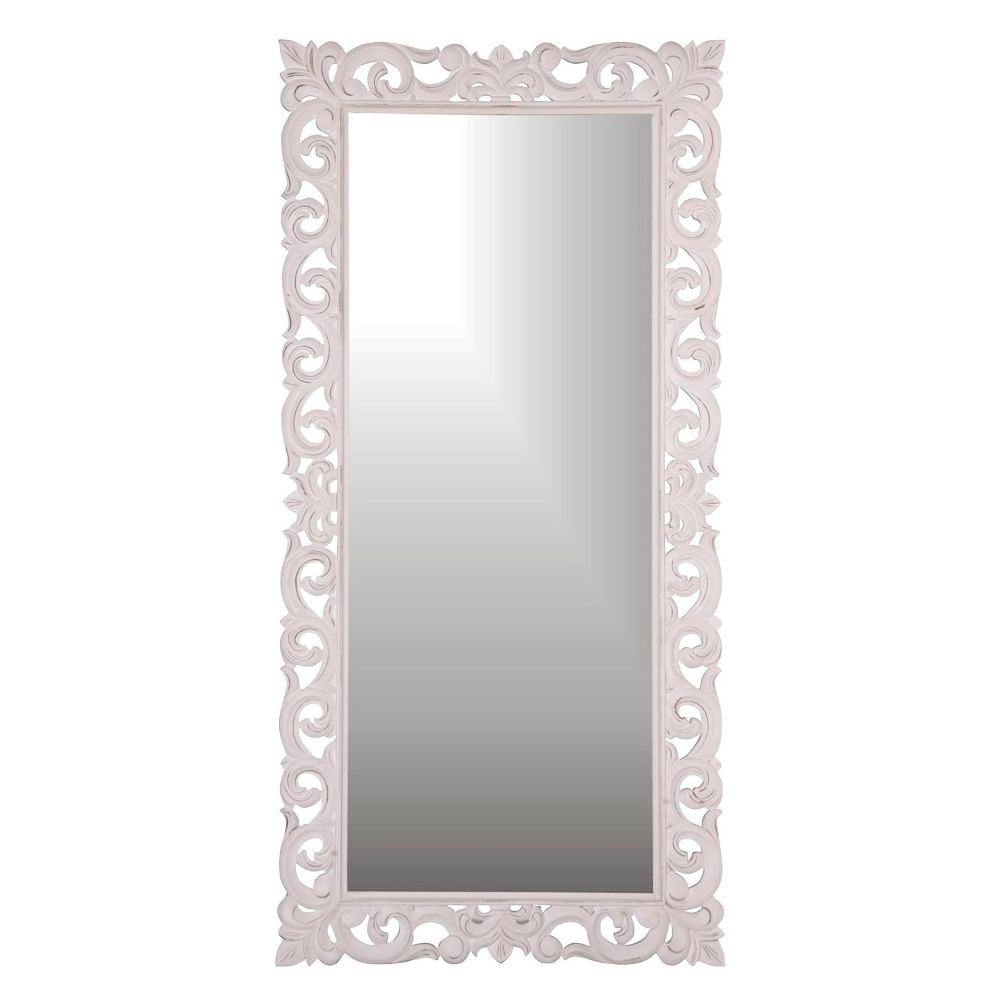 "Aumsville 78"" Vintage White Rectangular Accent Mirror 