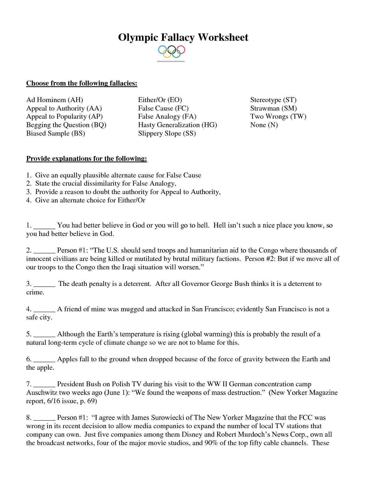 Logical Fallacies Worksheets High School In