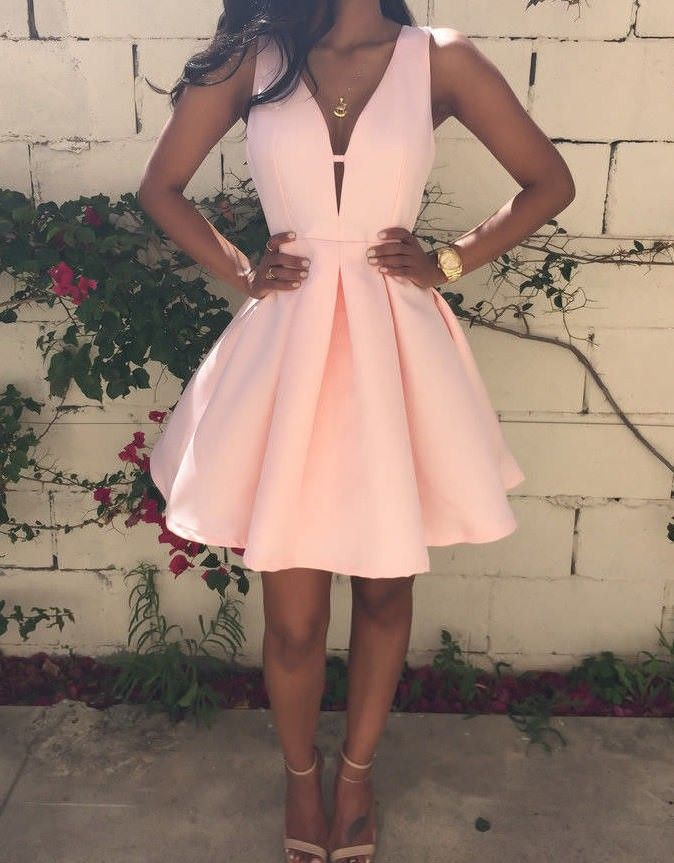 ab4bfebc642 Charming Short Pink Homecoming Dress Ruched with Deep V-neck ...