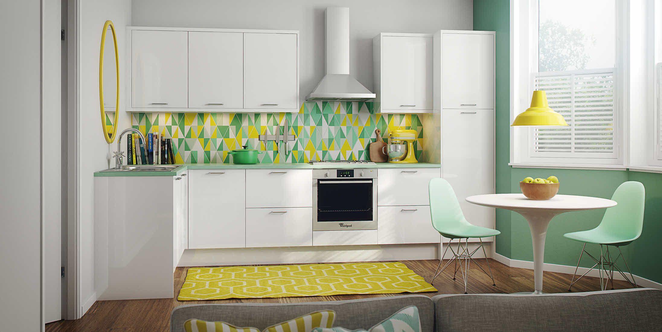 Slab kitchen cabinets  Gloss White Slab  kitchen diner  Pinterest  Kitchens