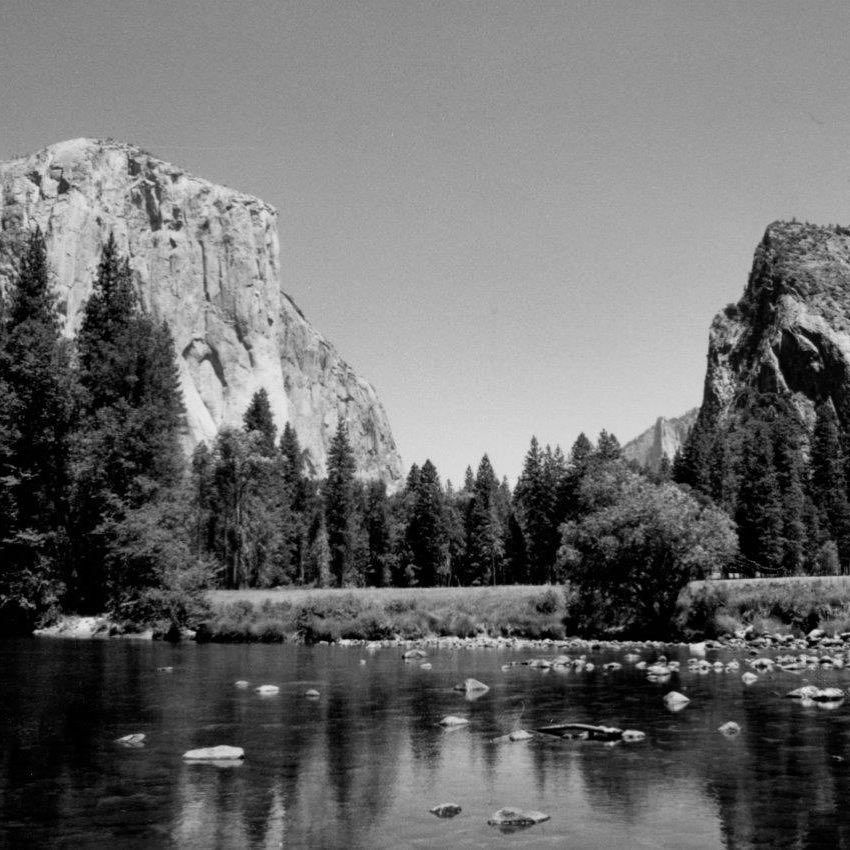 Yosemite National Park Black And White: Yosemite National Park, El Capitan & The Three Brothers