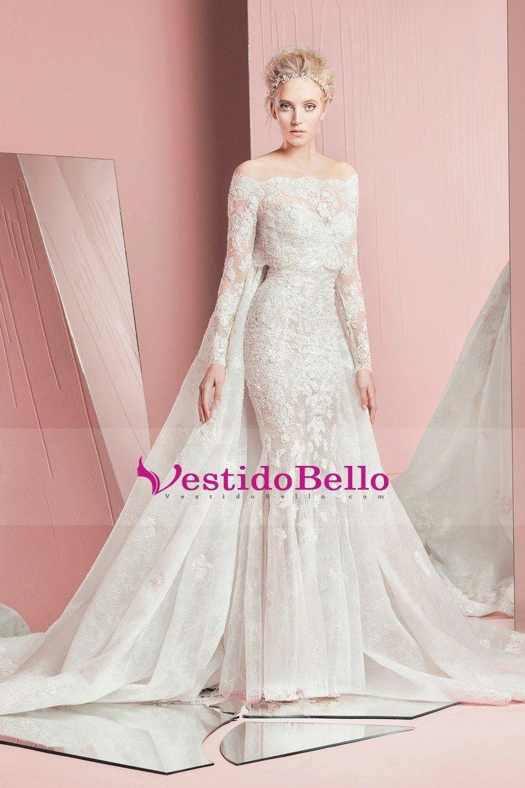 2017 vestidos de boda de la sirena del barco cuello con apliques de ...