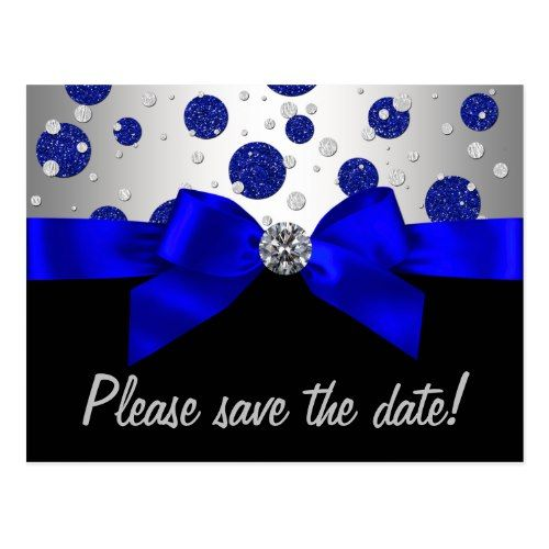 Royal Blue Silver Save The Date Postcard Blue Birthday Party