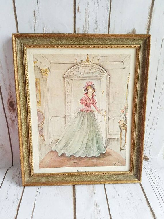 Vintage Lady Drawing, Wall Decor, Shabby CHIC Frame, Victorian Lady ...