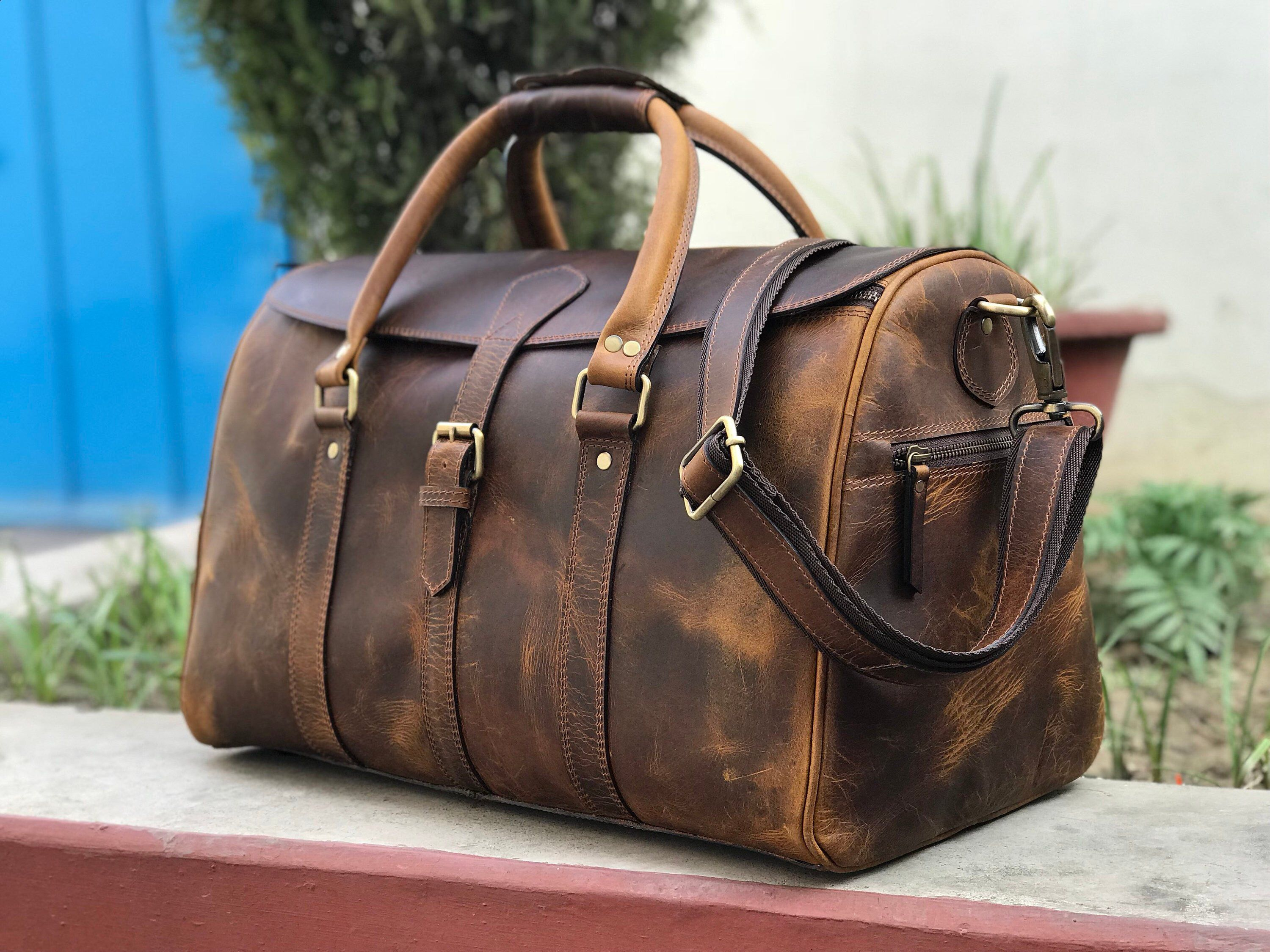 Excited to share this item from my  etsy shop  Zakara 100% Genuine Hunter  Brown Leather Weekender Duffle Bag, Women Handmade Travel Duffle, Mens  Overnight ... a3c4336286