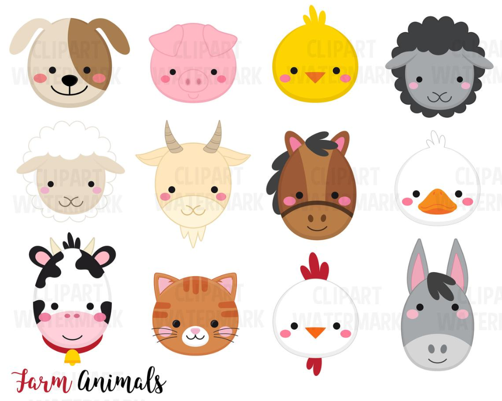 Farm Animal Faces Clipart Safari Animals Cats Dogs Sheep Etsy In 2021 Animal Clipart Animal Faces Safari Animals