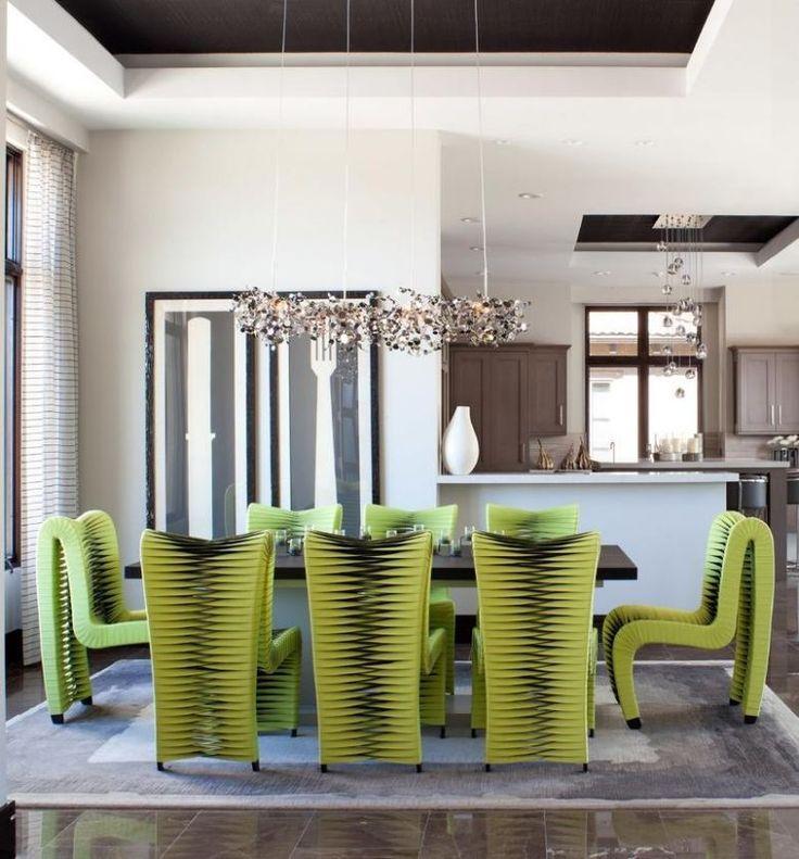 cool Salle à manger - salle à manger avec des chaises design vertes ...