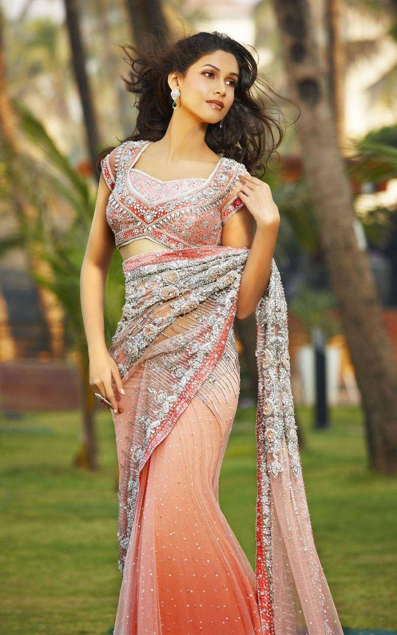 Peach pink sari love the blouse sari southasiancouture clothes ombrellifo Gallery