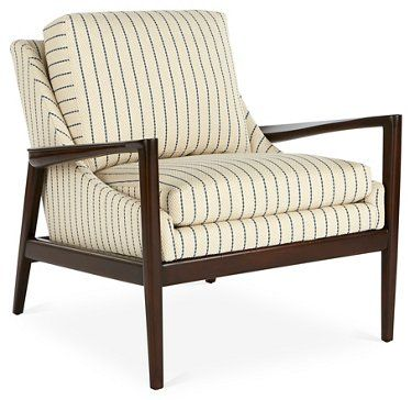 Best Ebonwood Accent Chair Blue Stripe With Images Striped 400 x 300