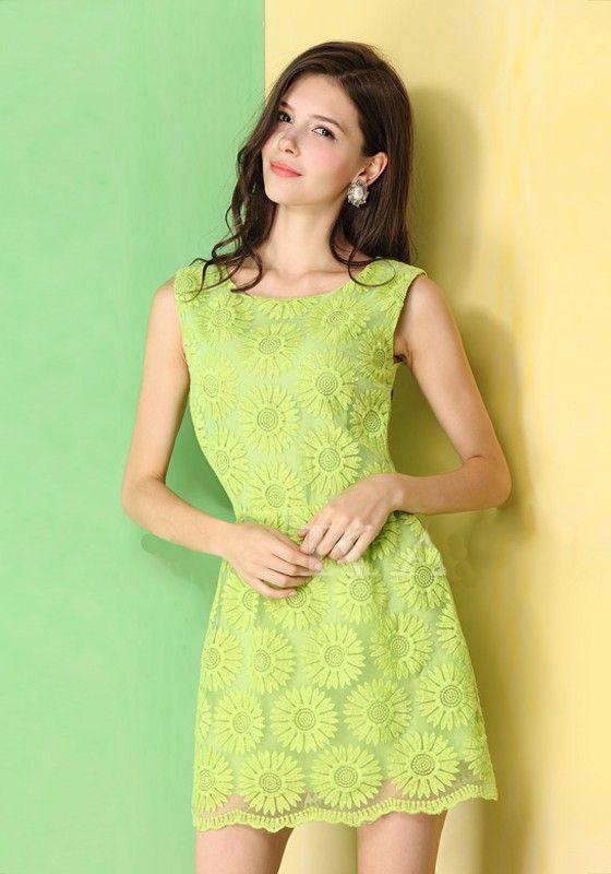 Green Sunflower Embroidery Zipper Sleeveless Lace Dress