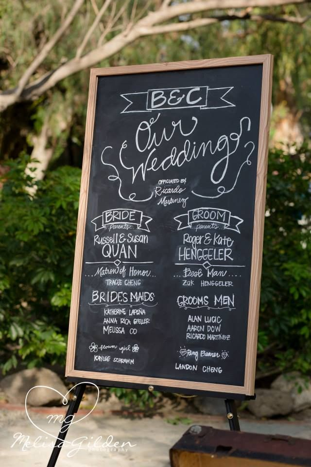 ceremony program chalkboard sign at mccormick home ranch in ...