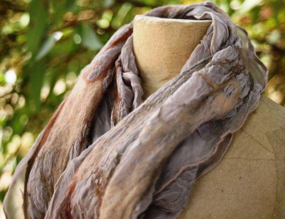 nuno felted silk scarf coastal toned tissue silk with by Sarsenet