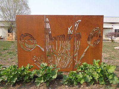 3stGartendeko Blumen Trennwand Sichtschutz Matell Tafel Paravent - terrasse paravent sichtschutz